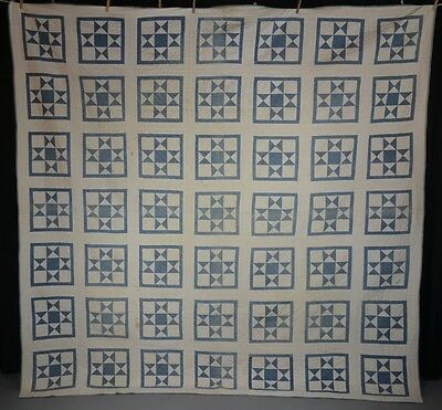 patchwork quilt blue white quilted hand stitched  83 x 93 American  antique 1800