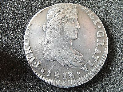 Mexico 8 Reales Ga 1813/2 MR,Guadalajara,Rare Overdate,War of Independence 111.3