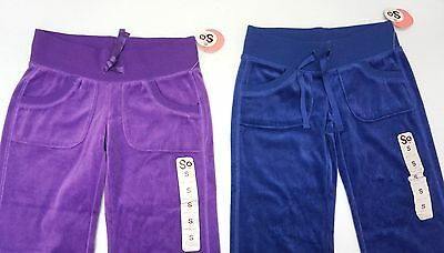 NWT LOT OF 2 PANTS So Brand Girls Size S Blue Purple Velour Soft Flared NEW