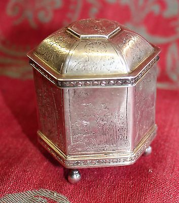 Miniature Antique Silverplate Box Urn Angels Gravestone Xian Death Odd Fellows