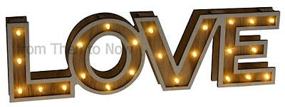 LED LOVE Light Up Display Carnival Marquee Wooden Wall Plaque Sign Vintage Retro