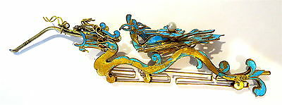 KINGFISHER Feather SILVER Gilt SPOON Dragon PHOENIX 19th CENTURY Chinese