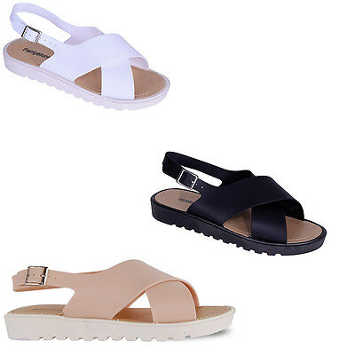 Womens Ladies Flat jelly Summer Holiday Beach Open Toe Comfy Sandals Shoes Size