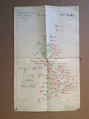 Map of UK showing AIRFIELDS WITH MET OFFICES IN 1942 - hand written