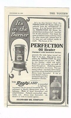 1906 Standard Oil Co. Of  N. Y.  Perfection Oil Heater & Rayo Lamp ad
