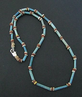 NILE  Ancient Egyptian Amulet Faience Mummy Bead Necklace ca 1000 BC