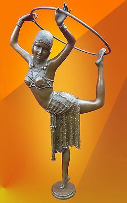 Art Deco Chiparus Dancer With Ring Hot Cast Bronze Statue Figure Signed Figurine