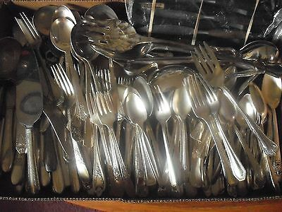150 Pc Mixed Lot Silverplate/Antique Flatware/Serving   #123