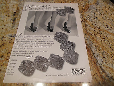 Original Vintage 1943 Delman Bronze Steel Beaded Shoe Buckle Shoes Ad