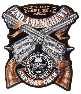 large JUMBO 2ND AMENDMENT CROSS PISTOL GUNS BACK PATCH #099 EMBROIDERED 10 IN