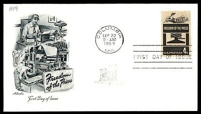 Columbia Mo Sep 22 1958 Freedom Of The Press Artmaster Cachet On Ua FDC Sc 1119