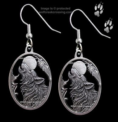 Moon Song Wolf Earrings - Diamond Cut Wolves Moon Eagle Feather Gift  Free Ship