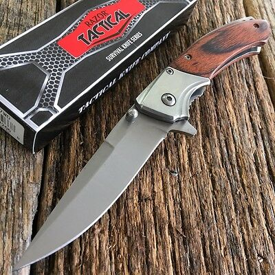 WOOD RAZOR TACTICAL Spring Assisted Open BOWIE Pocket Knife NEW KNIVES