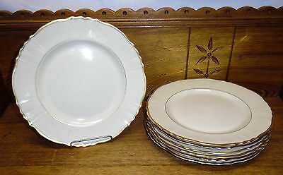 7 Old Ivory Syracuse China OPCo Onondaga Dinner Plates - Brantley - 10""