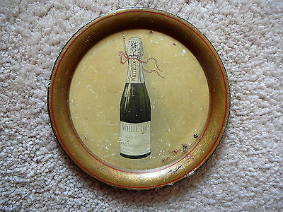 White Top Champagne Antique Advertising Tip Tray - Hammondsport Ny - 4.25""