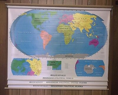 """RAND McNALLY 3 PAGE BEGINNERS USA & WORLD PULL DOWN SCHOOL MAP 66"""" X 54"""" MAP11"""