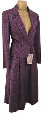 NWOT PLANET vintage 1980's ladies skirt suit pure wool size 8 raspberry tweed