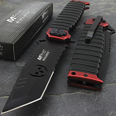 """9.5"""" MTECH USA TANTO SKULL RED SAWBACK SPRING ASSISTED FOLDING KNIFE Zombie"""
