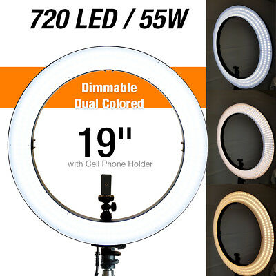 "18"" 50W LED Ring Light 5500K Dimmable Universal Adapter Continuous Lighting"