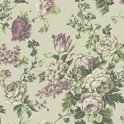 York English Garden Inspired Wallpaper on Pearlized Sage   PR9003   Double Roll
