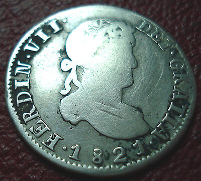 1821 Az Mexico War Of Independence Zacatecas 2 Reales In Vg Condition
