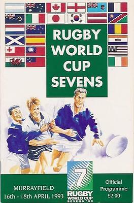RUGBY WORLD CUP  1993 SEVENS RUGBY PROGRAMME SCOTLAND, ENGLAND winners