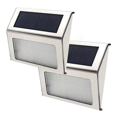 2 x LED Solar Power Path Stair Outdoor Light Garden Yard Fence Wall Motion Lamp