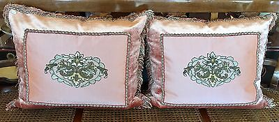 Pair of Antique Embroidered Textile Pillows w Silk Velvet & Brush Trim