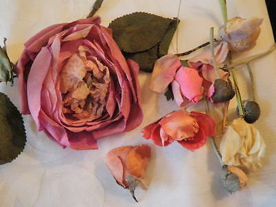 Antique Millinery Flower Collection Vintage Pink Rose Rosebud   H1376