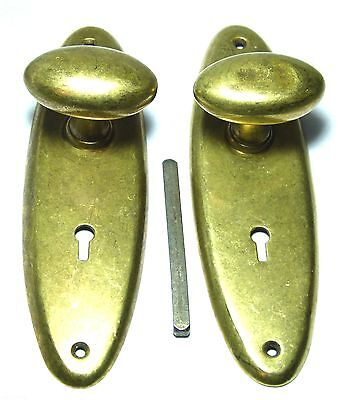 Pair Quality Antique Brass Oval Door Handles Knobs & Large Backplates