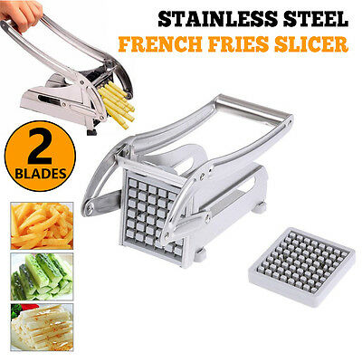 2 Blades Stainless Steel French Fries Slicer Potato Chipper Chip Cutter Chopper