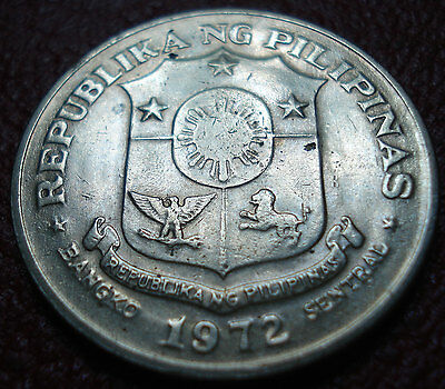 1972 Philippines 1 Piso In Vf-Ef Condition