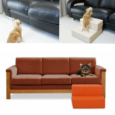 Folding Portable 2-Steps Dog Cat Pet Stairs Ramp Ladder Leather Cover Sofa Bed