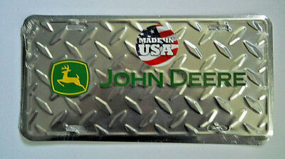 John Deere Embossed Metal License Plate  John Deere Chrome Color Made in USA