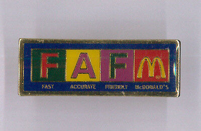 McDonalds restaurant pin - Fast Accurate Friendly - fast food collector badge