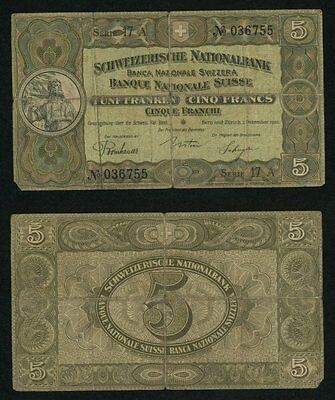1926 Switzerland Banknote Five Francs Currency William Tell Very Good Pick# 11g