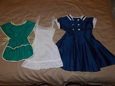 Vintage Little Girls Child Size 6 Navy Blue Sailor Style Dress, Slip And Apron