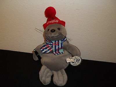 1999 Coca-Cola Collectible Bean Bag Plush Seal In Striped Scarf & Knit Hat