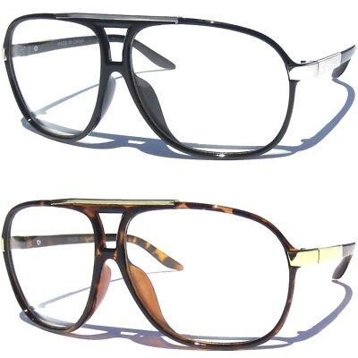 Clear Lens Glasses Retro Aviator Large Frame Hipster Geek Nerd Vintage Inspired