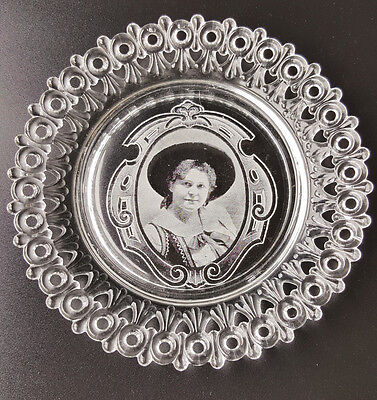 1890s US Glass Egg and Dart lace edge plate with photo portrait of woman