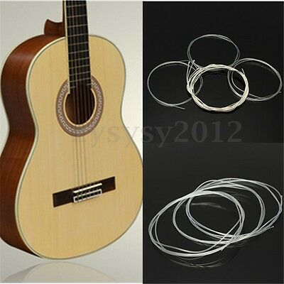 6X 1M Nylon Silver Strings Gauge Set Classical Classic Guitar Acoustic Wound UK