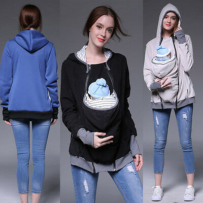 S-XXL Baby Carrier Jacket Casual Autumn Casual Hooded Zipper Coat Pregant Women