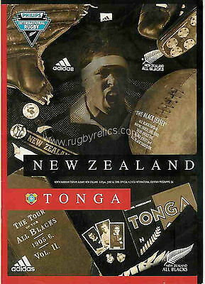 NEW ZEALAND v TONGA 2000 - 25 August RUGBY PROG