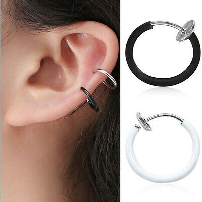 2X Fake Cheater Clip On Helix Septum Earring Ear Stud Nose Ring Eyebrow-Lip Ring