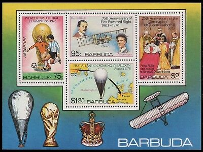 Barbados 1978 - Mi-Nr. Block 39 ** - MNH - Flugzeuge / Airplanes - Fussball