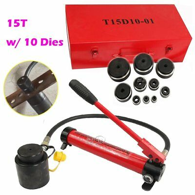 15T Hydraulic Knockout Punch Driver Electrical Hand Pump Hole Tool Kit + 10 Dies