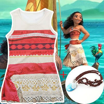 Disney Moana Princess Fancy Dress Costume Girl's Kids Costume Sleeveless Dress