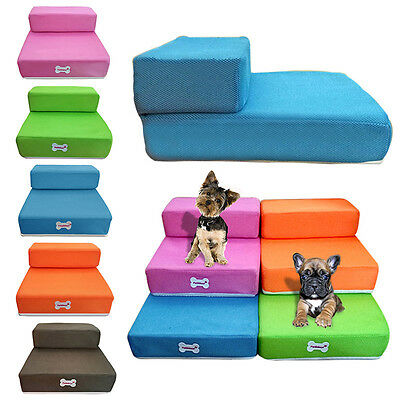 New Pet Stairs 2 Step Breathable Dog Cat Puppy Sofa Bed Ramp Detachable Washable