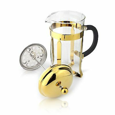Café Ole 8 Cup Classic Coffee Maker Glass Cafetiere, Gold Finish, 1000ml 1L