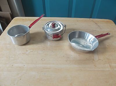 Three Vintage Child's Aluminum Cooking Utensils - Pot, Pan and Covered Kettle